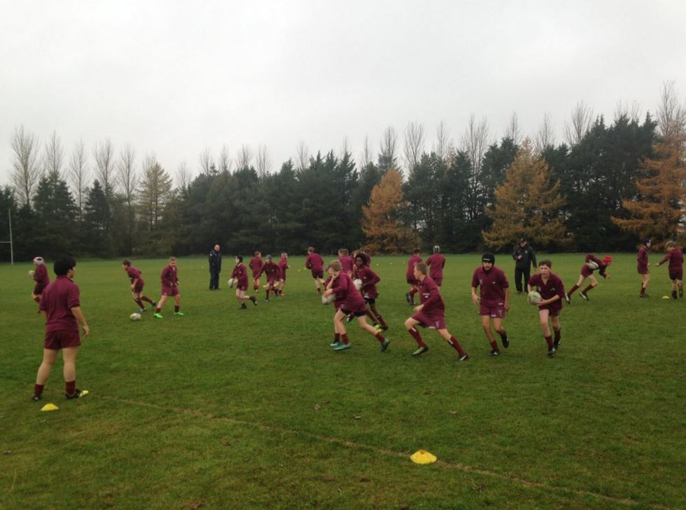 The boys on the rugby field during training