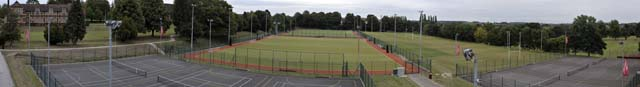 Panoramic view of the courts and astro pitches from the Hospitality Suite